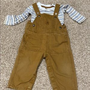 Carhartt overalls and onesie 12 months